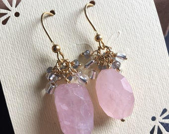 Pink chalcedony nugget, labradorite rondelle, gold vermeil dangle earrings
