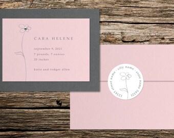 Pink or Purple Swarovski Crystal Rhinestone Flower Birth Announcement, Set of 20, Baby Girl, Custom Handmade Card