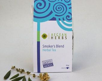Smoker' s Blend Herbal Tea. Natural Tisane. Wild Oregano, Mallow, Eucalyptus, Olive Tea. Hrebs form Amorgos, Greece.  Natural Farming