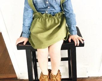 Beautiful cotton linen, toddler suspender skirt {Avocado}