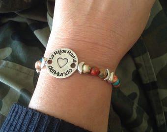 MOM, bracelet bracelet, mother's day, MOM jade, Mom jade bracelet
