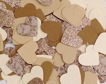 Heart Shaped Champagne Confetti (150 pieces): wedding - bridal shower - party -celebration - rustic - vintage - romantic