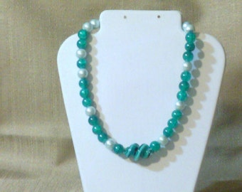 291 Elegant Deep Teal Green Crackle Glass Beads and Pale Blue Glass Pearls with Large Teal Green Spiral Lamp Work Glass Center Beaded Choker