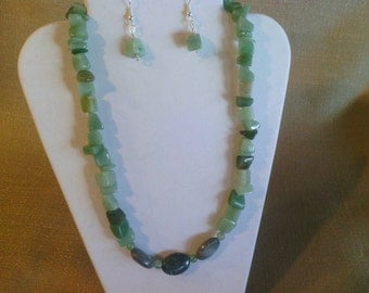 181 Gorgeous Genuine Turquoise Stones and Green Adventurine Nuggets Beaded Choker