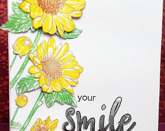 Hand stamped sunflowers smile card