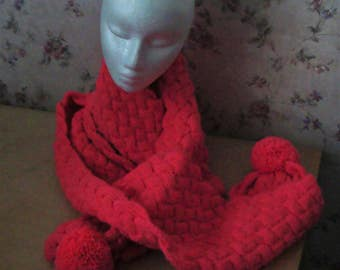 Hand Knitted Extra Long Cable Cerise Pink Scarf