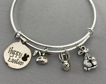 Easter jewelry etsy easter jewelry easter bunny bracelet easter charms happy easter easter gifts negle Choice Image