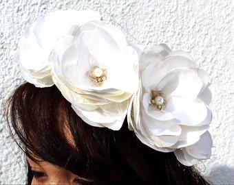 White Satin Flower Crown | Wedding Crown | Flower Girl Headpiece | Communion Headpiece