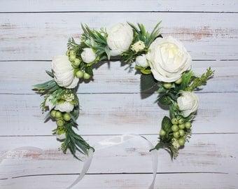 Floral crown Wedding flower crown Flower halo Bridal flower crown Wedding Flower crown flower hair wreath Floral Wreath white floral crown