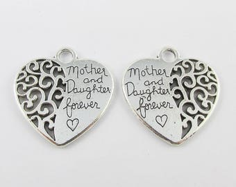 Bulk Mother & Daughter Forever Heart Charm Pendant 29x28mm Select Qty