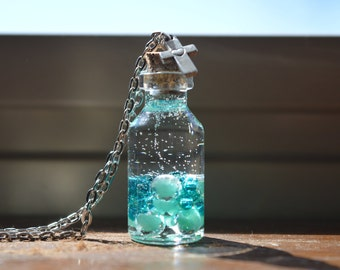 Blue Beads Glass Bottle Necklace