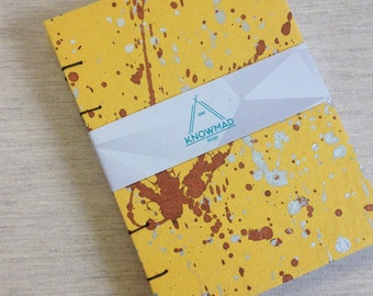 Travel handmade notebook, modern coptic notebook. Hand painted yellow cover metallic inks silver copper size A6 Special gift draw stationery