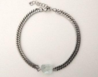 Quartz crystal choker, Aqua crystal necklace, Chunky chain necklace, Raw quartz necklace, Rough crystal necklace, Crystal choker
