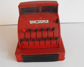 Tom Thumb Cash Register Toy Red Metal 1950's   (862)
