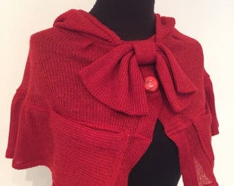 Little Red Micro Hooded Poncho