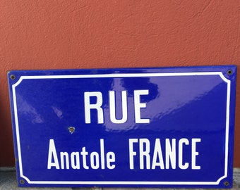 Old French Street Enameled Sign Plaque - vintage anatole france