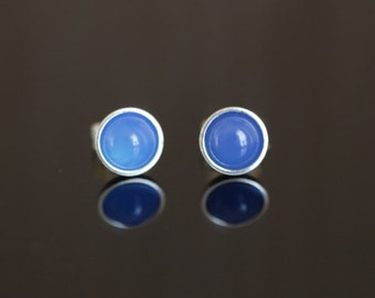 925 Sterling silver stud earrings with 6mm natural Blue Onyx gemstones