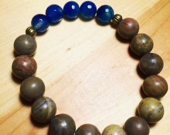 Men's Blue Agate Bracelet