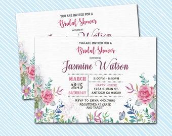 Digital Printable Bridal Shower Invitation. Flowers Invite
