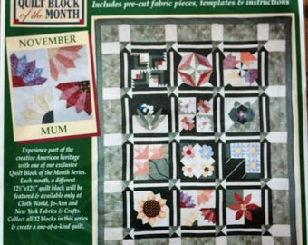 Vintage Jo-Ann quilters Garden November/ Mum/ Quilt Block of the Month 1997