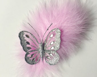 Pink Fascinator, Feather Hair Clip, Butterfly Clip, Pink Feather Clip, Feather Fascinator, Pink And Silver, Wedding Hair Clip, Baby Pink