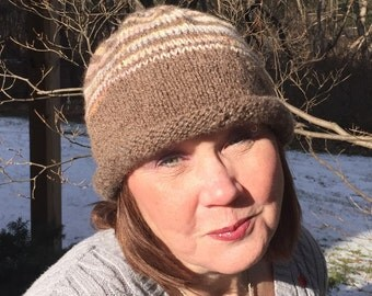 Silk striped hat  - highlighting the natural brown Shetland wool