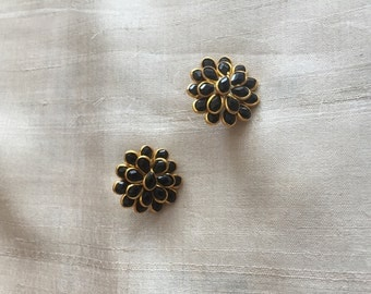 Black Pacchi Kari Indian Button,Jaipur Jewellery Layered Charm,Ethnic Rajasthan Bead,Indian Floral Jewellery Supply 2.5cm Dia,Price for 2 pc