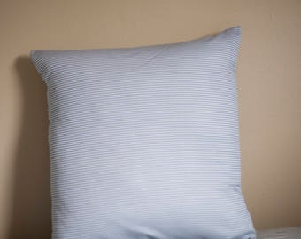Classic Blue Striped Reclaimed Fabric Pillow