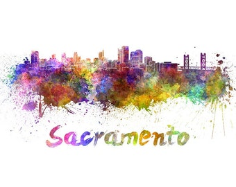 Sacramento skyline watercolor canvas, Sacramento Canvas Print, Sacramento wall art, Sacramento Canvas Wall Art,Sacramento California