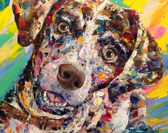 Dog Custom Portrait Oil Painting On Canvas Animal Painting Pet Portrait Dog lover Gift Anniversary Gift Dog Painting Impasto Palette Knife