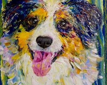 Dog Portrait Canvas Custom Pet Portrait Oil Painting Pet Portrait Dog Lover Gift Anniversary Impasto Painting Dog Painting Impressionism Art