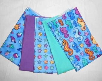 Under The Sea/pool & crocus kona solids- Fat Quarter Bundle 5pc.-snails/starfish/seahorses/teal/purple (#O226)