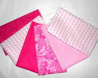 Breast Cancer Awareness/Pink Ribbon Fabric Fat Quarter Bundle 6pc. - floral/heart/pink ribbon/solid and mottled pink tones (#O244)