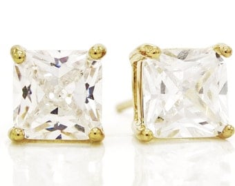 Gold plated princess earrings, Stud gold earrings, Princess clear gemstones, 18CT Gold princess gem, Princess gold stud, Black gift box 18CT