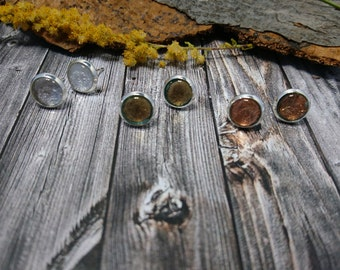 set of 3 Stud Earrings - bronze, silver and gold with transparent resin (264) - resin