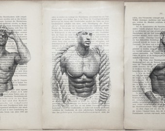Erotic poster 3 pages / Muscle sailor nude / Printing Antique  German book  decor interior picture ART erotic