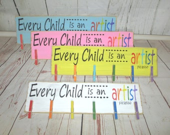 "Free Shipping! Handcrafted Wood Sign ""Every Child is an Artist"", Kids Artwork Display"