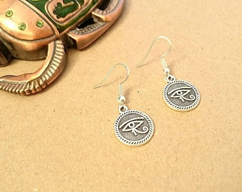 Silver Eye Of Horus Earrings - Silver Plated Hooks, Tibetan Silver Charms, Ancient Egypt, Silver Egyptian Earrings, Silver Egyptian Charm