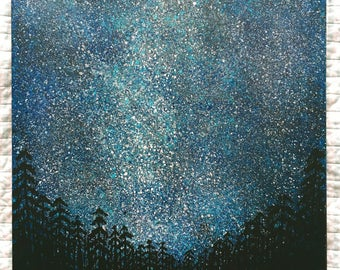 Starry Night in a Forest Painting