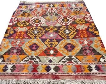 "Bohemian Vintage Turkish Kilim Rug,Area Rug,Door Mat,Wall Hanging,Anatolian Handmade Rug,Kelim,Rug Carpet 44"" x 49"" inches - 112 x 125 cm"