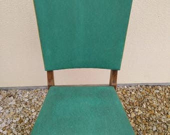 DISCOUNT Chair in vintage green leatherette seat springs and wood