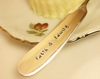Faith & Family Stamped Butter Knife Silver Plated Spreader