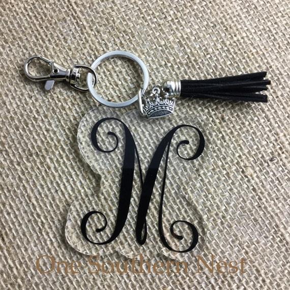 Custom personalized initial monogram key chain with coordinating tassel. Friend, sorority, bridesmaid gift, or sweet 16