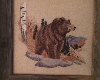 Bear in the woods rustic framed embroidery