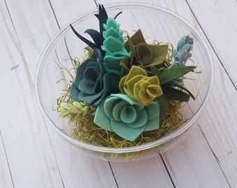 Felt succulent terrarium, succulent terrariums, felt succulent arrangement