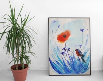 Original watercolor painting, Flower painting, Original fine art