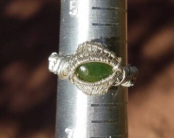 Sterling silver wire wrapped jade ring