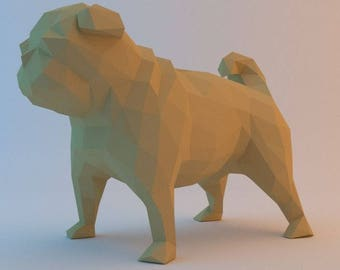 DIY PAPER SCULPTURES  pug pdf file digital product papercraft model template