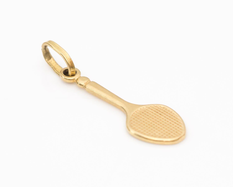 tennis racket 18k yellow gold vintage pendant charm vj