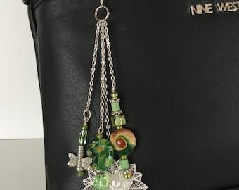 Handbag Charm or Keychain with Laser Cut Flower